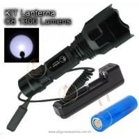 Kit Caça C8 CREE T6 1 Modo Lanterna de 1300 Lumens